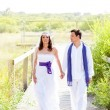 Royalty-Free Stock Photo: Couple happy in wedding day walking outdoor