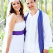 Couple happy hug in wedding day smiling — Stock Photo #11907568