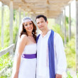 Couple happy hug in wedding day smiling — Stock Photo #11907574