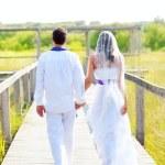 pareja feliz en boda poca visión trasera — Foto de Stock