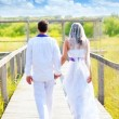 Couple happy in wedding day walking rear view — Stock Photo
