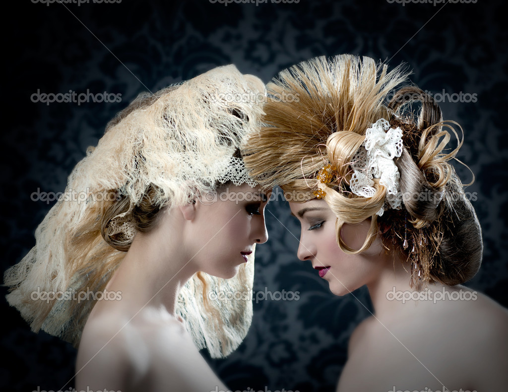 Hairdressing and makeup fashion two woman on dark background — Stock Photo #11907493