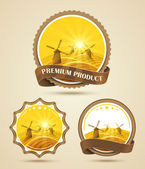 Windmills labels — Stock Vector