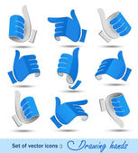 Сollection of drawing hands — Stock Vector