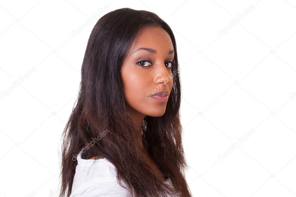 Closeup portrait of a young beautiful black woman — Stock Photo #10784914