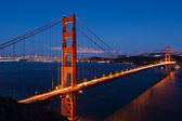 Golden Gate bridge by night in San Francisco — Stock Photo