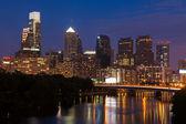 Night view of the Philadelphia skyline — Stock Photo