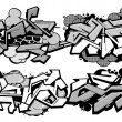 Stock Vector: Set of 4 graffiti compositions