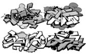 Set of 4 graffiti compositions — Stock Vector