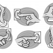 Stock Vector: Cartoon hands pushing button in grayscale