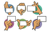 Cartoon hands holding card — Stock Vector