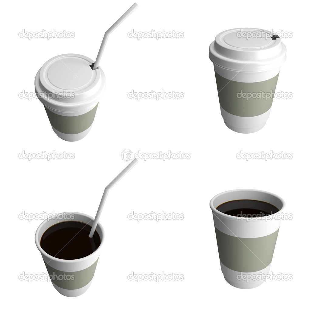 Plastic cup of coffee, with a lid, different foreshortenings. 3d render illustration — Stock Photo #11351147
