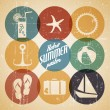 Vector summer poster made from icons — Stock Vector