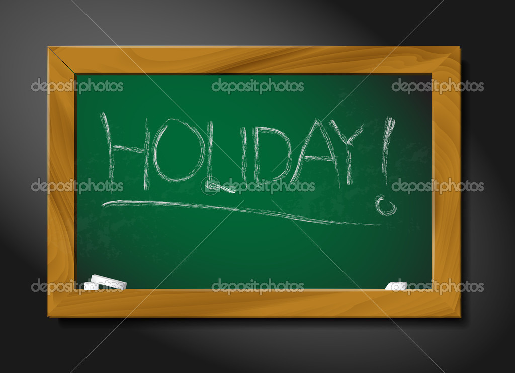 Vector school blackboard illustration on black background - holiday — Stock Vector #10968769