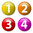 One two three four - vector badges with numbers — Stock Vector
