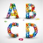 fonte de vetor feito de letras do alfabeto — Vetorial Stock