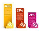 Eerste tweede derde - vector papier infographic elementen — Stockvector