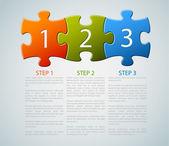 Jeden dwa trzy - wektor puzzli z numerami — Wektor stockowy