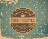Vector grunge retro vintage background with coffee label — Stock Vector