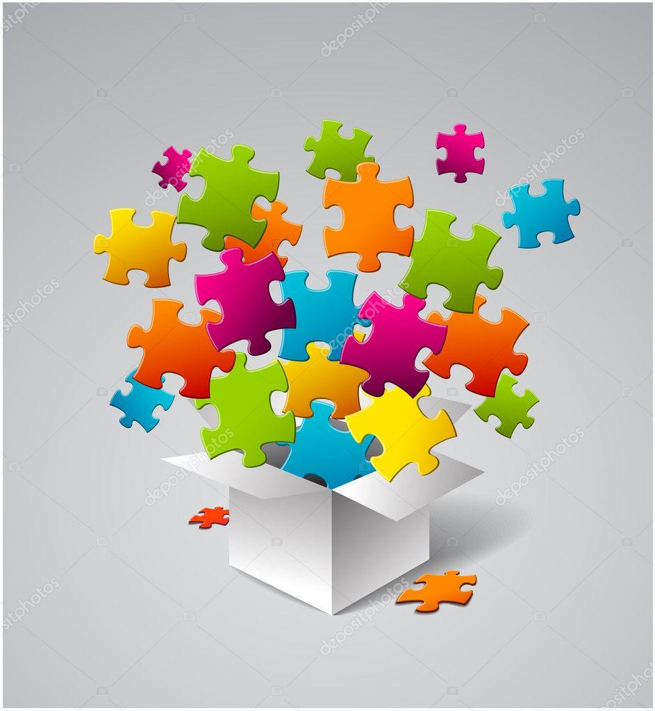 Caja de vector llena de colorido rompecabezas vector stock orson 11486265 - Caja rompecabezas ...