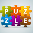 Vector colorful puzzle lettering - Image vectorielle