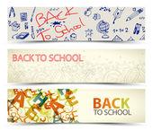 学校ベクトル バナーに戻る — ストックベクタ
