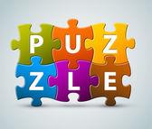 Lettrage de puzzle coloré de vecteur — Vecteur