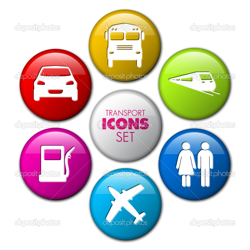 Set of round 3D transport buttons - car, bus, train, plane, gas station — Stock Vector #11842983