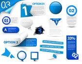 青いベクトルの進捗状況アイコン セット — ストックベクタ