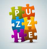 Vektor-bunte puzzle-schriftzug — Stockvektor