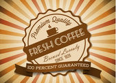Vector grunge retro vintage background with coffee label — Stok Vektör