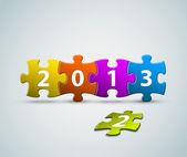 Tarjeta de año nuevo 2013 hecha de pedazos de rompecabezas de colores — Vector de stock