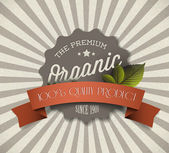 Old vector round retro vintage grunge label for organic product — Vecteur