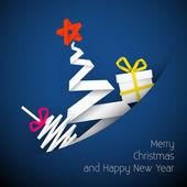 Ilustración vectorial simple tarjeta de navidad azul — Vector de stock