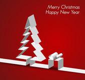 веселая рождественская открытка, сделанные из бумаги полоску — Cтоковый вектор