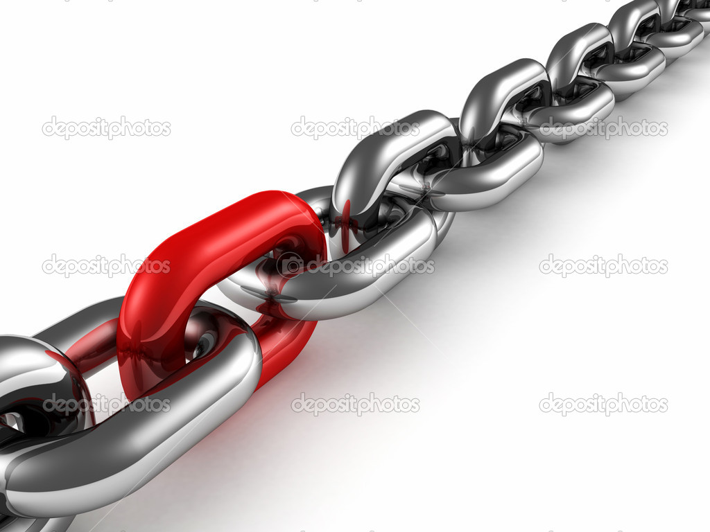 Metal chain with red part link as teamwork concept — Stock Photo #10735734
