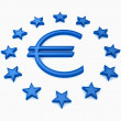 EU stars round with blue euro sign on white background — Stock Photo