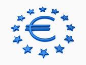 Ue stelle turno con segno euro blu su sfondo bianco — Foto Stock