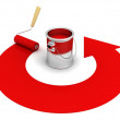 Open paint can with roller and red round arrow — Stock Photo #10832168
