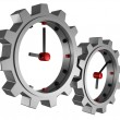 Time concept clocks gear wheels over white background — Stock Photo