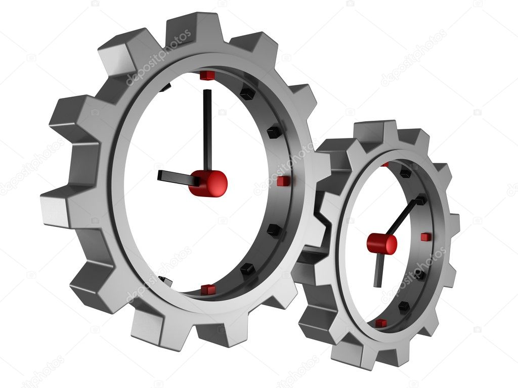 Time concept clocks gear wheels over white background — Stock Photo #11006949