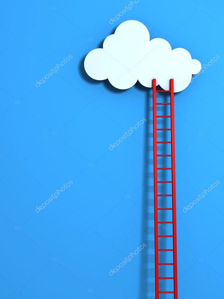 Red high ladder leading to a cloud on blue sky — Stock Photo #11007010