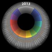 Vector calendar 2013 with color ring — Stock Vector