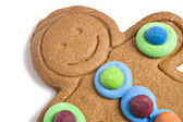 Close up of a decorated gingerbread man — Stock Photo