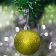 Christmas decorations against festive background — Stock Photo