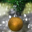 Christmas decorations against festive background — Stock fotografie