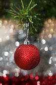 Christmas decorations against festive background — Stock Photo