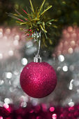Christmas decorations against christmas background — Stock Photo
