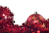 Red christmas decorations on white — Stock Photo
