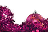 Pink christmas decorations on white — Stock Photo